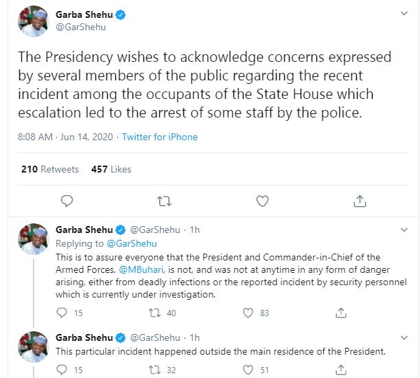 Presidency reacts to shooting at the presidential villa lindaikejisblog 1