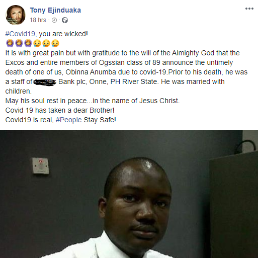 Nigerian man mourns his friend who recently died of COVID-19 in Rivers state, All9ja