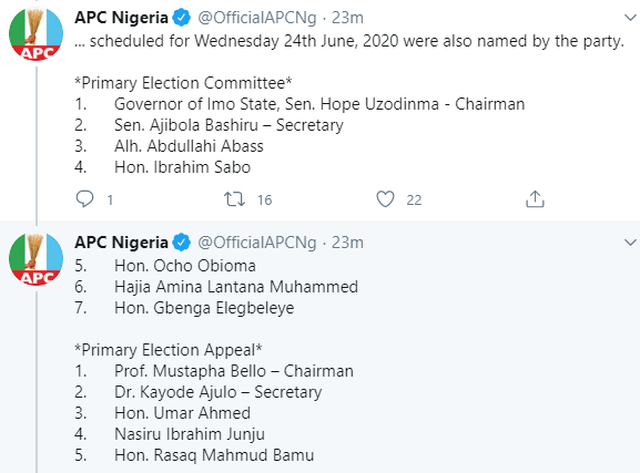 APC National Working Committee affirms Ajimobi as its Acting National Chairman, All9ja