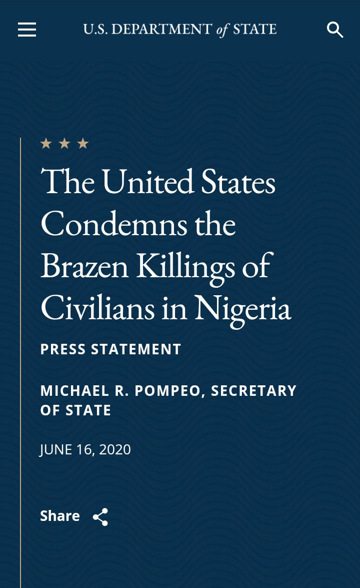 """U.S condemns """"brazen killings in Nigeria"""" and urges FG to do more to protect civilians, All9ja"""