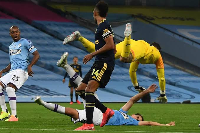 Man City's Eric Garcia rushed to hospital after heavy collision with Ederson in 3-0 win over Arsenal (photos/video), All9ja