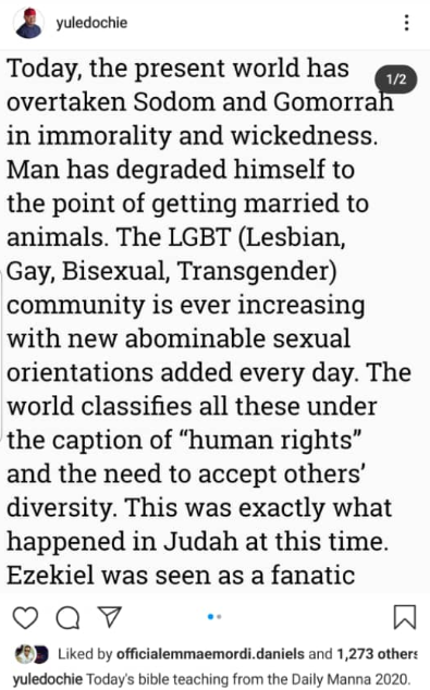 Paul O disagrees with Yul Edochie after the actor shared a Bible study manual denouncing LGBTQ lifestyle, All9ja