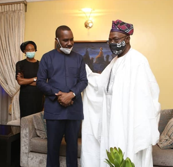 Ex-President Olusegun Obasanjo pays condolence visit to Pastor Ituah Ighodalo over the death of his wife, Ibidun Ighodalo (photos), All9ja