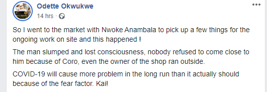Nigerian lady narrates how Nigerians refused coming near a man who slumped at a shop in Abuja over fear of contracting Coronavirus lindaikejisblog 1