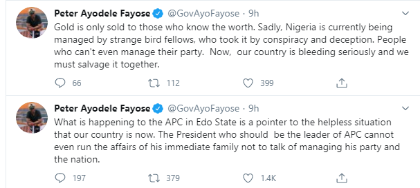 Buhari cannot even manage family, let alone his party and Nigeria Fayose lindaikejisblog 1