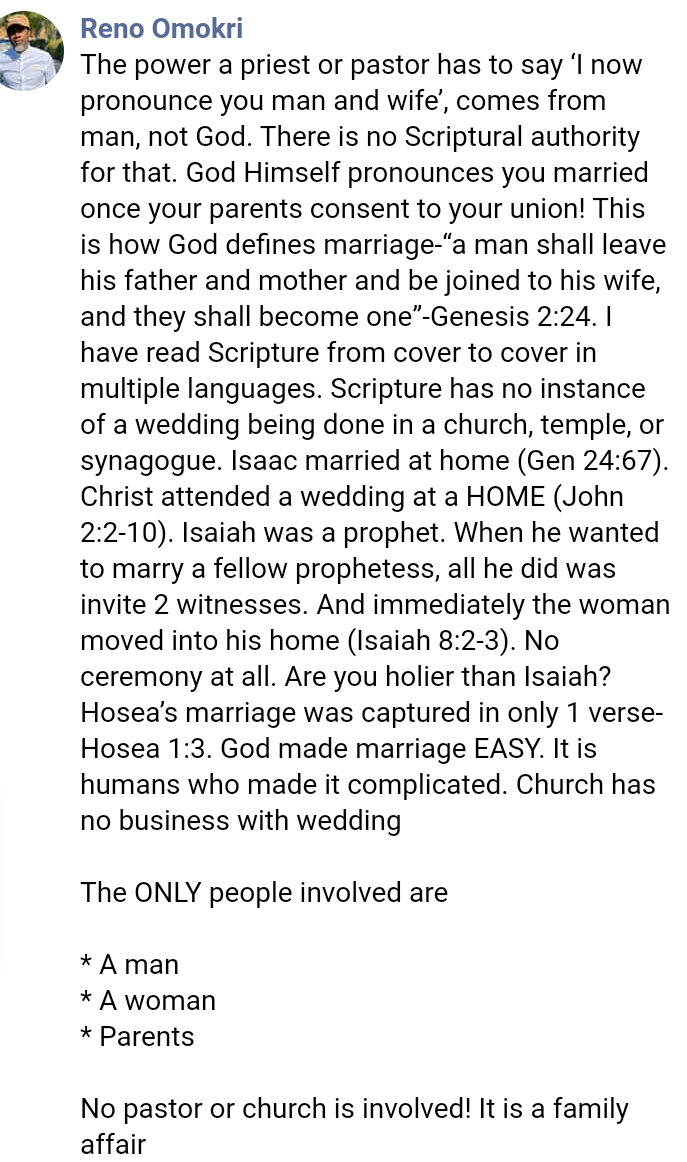 You don't need a church wedding to be married, it isn't in the scriptures – Reno Omokri says, All9ja