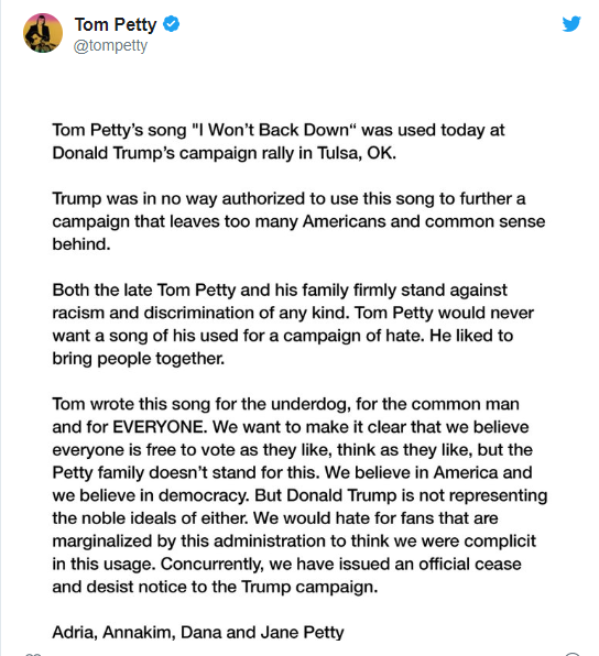 His song is not for a campaign of hate - Tom Petty's family says as it issues cease and desist order to Trump campaign lindaikejisblog 2