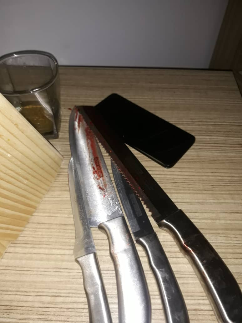 Lagos police command release official statement on the murder-suicide incident that happened in Lekki. See photo of the knives used in the murder, All9ja