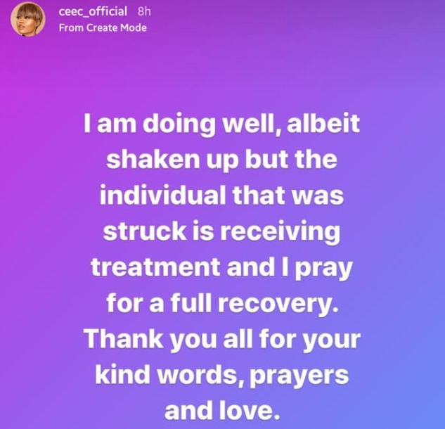 BBNaija's Cee-C speaks up following accident; confirms one person was injured