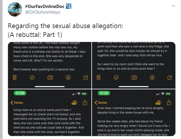 She threatened to blackmail me after traveling from Nigeria to UK to see me - Popular Nigerian doctor and Twitter influencer reacts to sexual abuse allegation lindaikejisblog 1