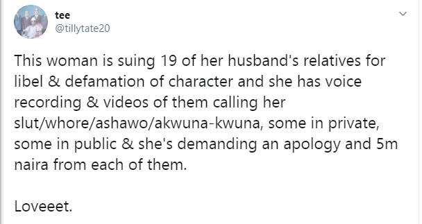 , Twitter stories: Nigerian woman sues 19 of her husband's relatives for libel and defamation of character, All9ja, All9ja