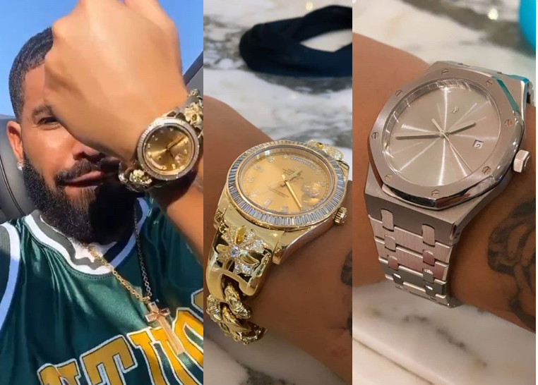 Drake shows off his expensive wristwatches including a '$200,000' Rolex Day-Date made with diamonds (photos)
