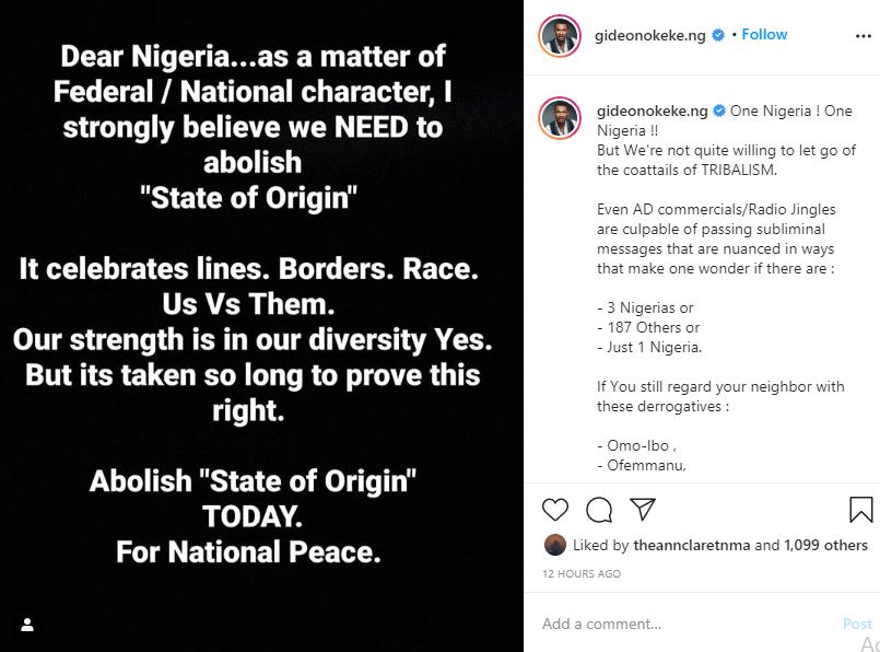 Abolish state of origin for national peace - Gideon Okeke lindaikejisblog 1
