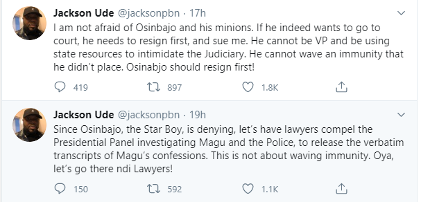 If Osinbajo wants to go to court, he needs to resign first and sue me - Jackson Ude reacts to Vice President's lawsuit lindaikejisblog 1
