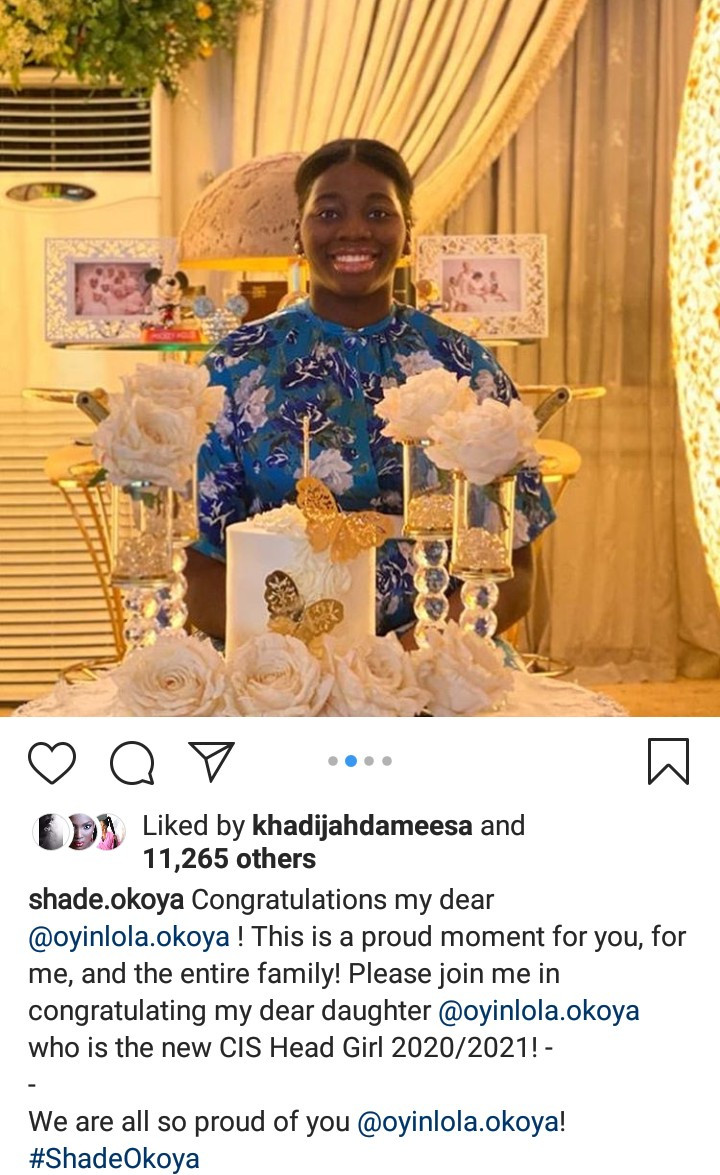 New photos and video of Razaq and Shade Okoya's family as they celebrate their daughter who was made Head Girl of her school