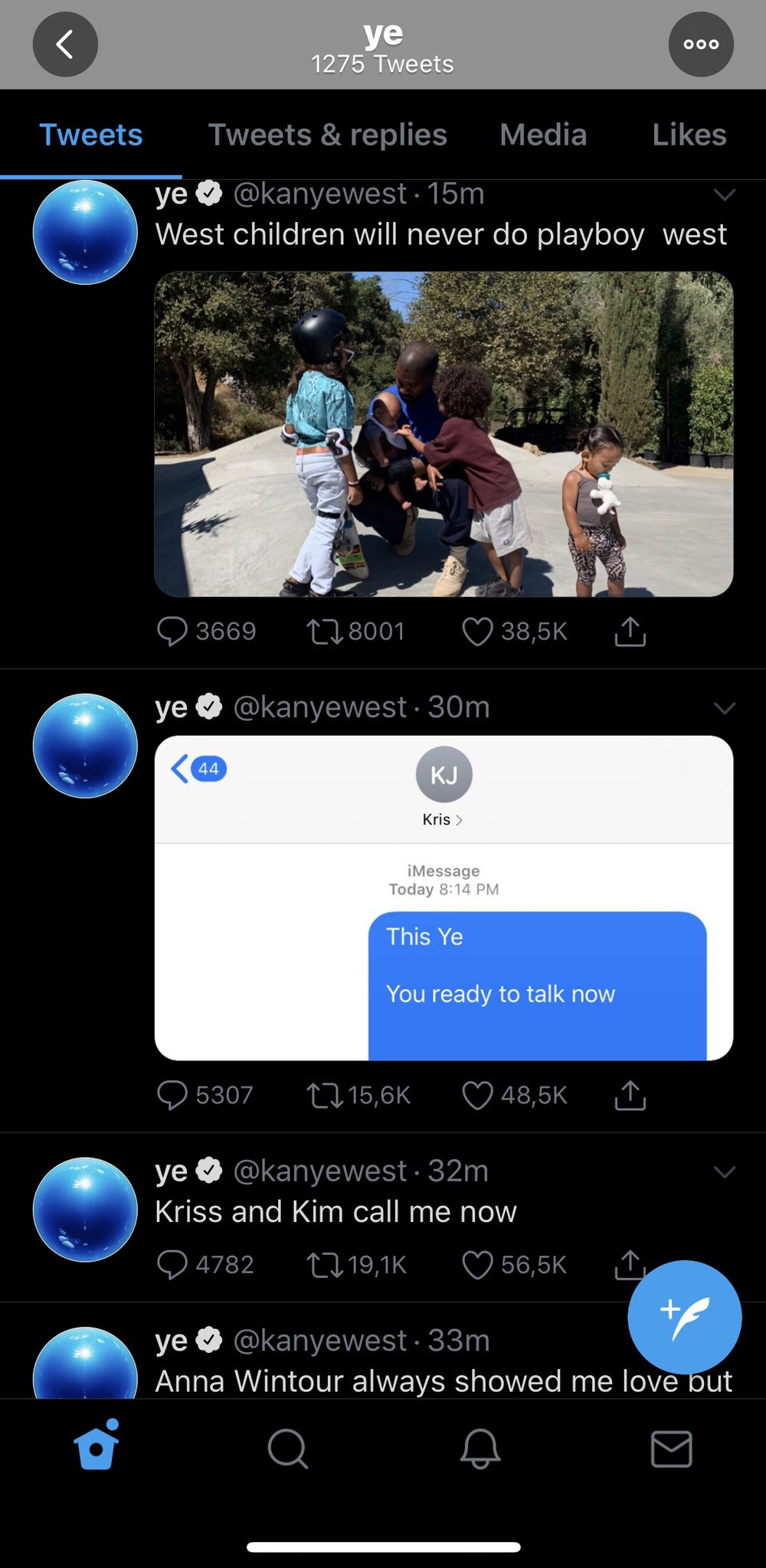 Kanye West rants on Twitter, calls out Kim Kardashian and Kris Jenner lindaikejisblog 3