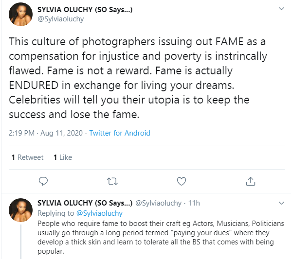 This culture of photographers issuing out fame as a compensation for injustice and poverty is intrinsically flawed  Actress Sylvia Oluchy lindaikejisblog 1