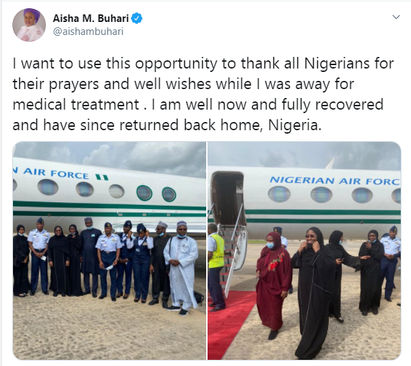 Aisha Buhari experiences plane crash scare as she returns to Nigeria from medical trip to Dubai lindaikejisblog 1