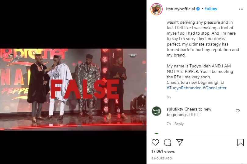 I've been living a lie of being stripper for over a year now - BBNaija's Tuoyo cries out lindaikejisblog 1
