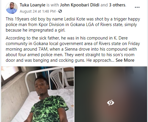19-year-old boy allegedly shot by a policeman for impregnating a 17-year-old girl in Rivers state lindaikejisblog 1
