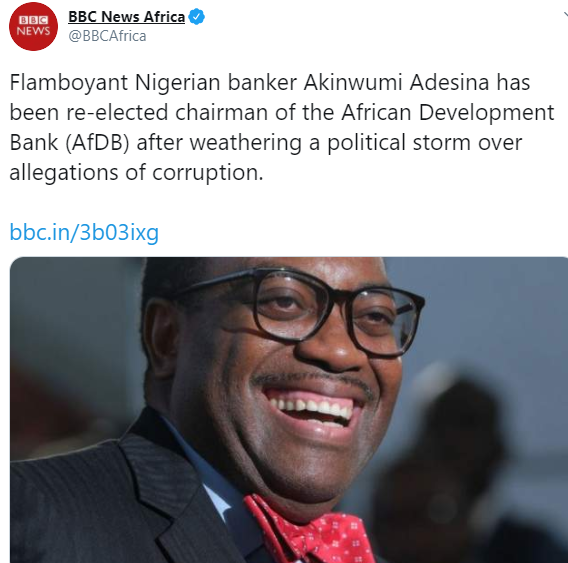 BBC admits its 'error' and removes 'Flamboyant Nigerian banker in its description of Akinwunmi Adesina