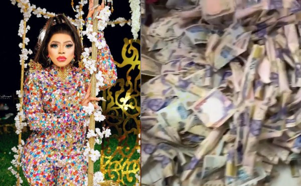 Bobrisky shows of the three bags of money he went home with after the money rain at his birthday party