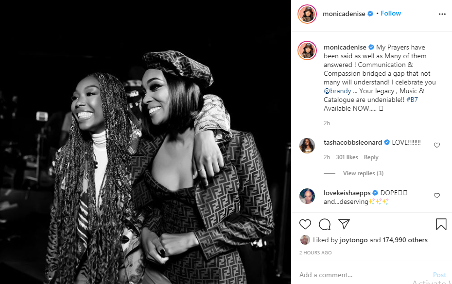 Communication and Compassion bridged a gap that not many will understand - Monica says in heartfelt message to Brandy after Verzuz battle lindaikejisblog 1