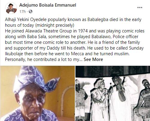 Veteran actor, Yekini Oyedele 'Baba Legba' is dead lindaikejisblog 1