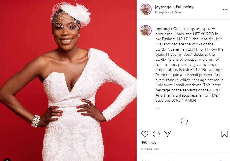 I shall not die but live - Joy Tongo reacts after Cynthia Morgan attached 'RIP' to her photo lindaikejisblog 1