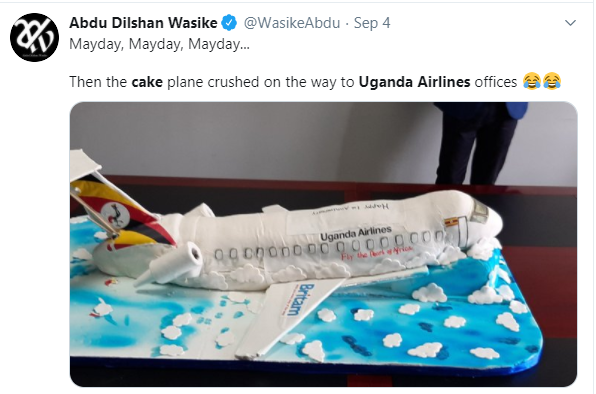 Ugandan Airlines anniversary cake which looks like a 'crashed airplane' leaves Twitter users in stitches lindaikejisblog 1