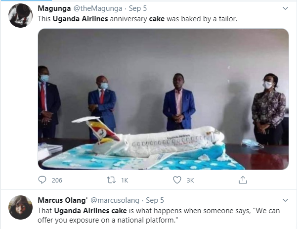 Ugandan Airlines anniversary cake which looks like a 'crashed airplane' leaves Twitter users in stitches lindaikejisblog 2
