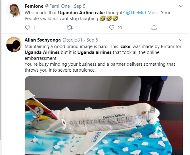 Ugandan Airlines anniversary cake which looks like a 'crashed airplane' leaves Twitter users in stitches lindaikejisblog 4