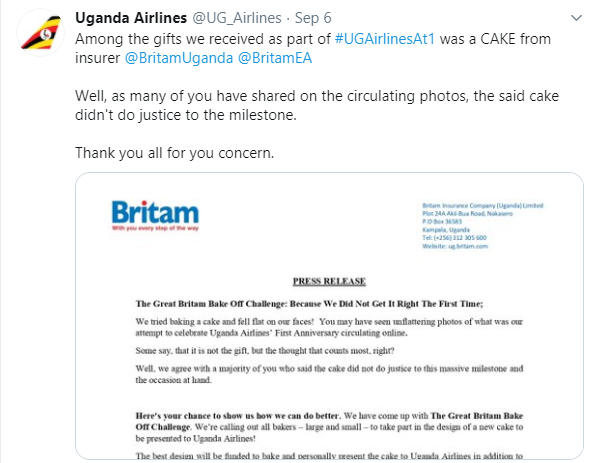 Ugandan Airlines anniversary cake which looks like a 'crashed airplane' leaves Twitter users in stitches lindaikejisblog