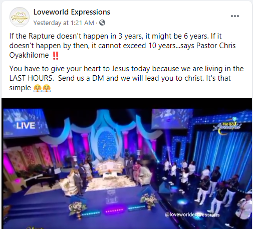 Pastor Chris calculates when rapture will take place, says it won't exceed 10 years lindaikejisblog 1