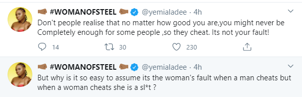 No matter how good you are you will never be enough for some people - Yemi Alade slams those who blame the woman when a man cheats lindaikejisblog 1