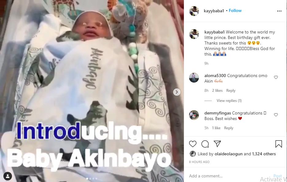 Actor Kayode Akinbayo welcomes a baby boy with his wife lindaikejisblog 2
