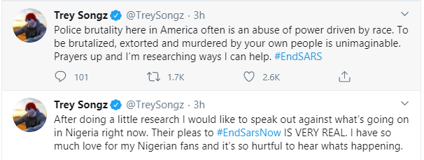 Trey Songz, Big Sean, Chance The Rapper, Estelle, Nasty C and other International celebrities react to the #EndSARS protest lindaikejisblog 1