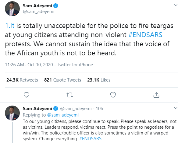 It is totally unacceptable for the police to fire teargas at young citizens attending non-violent #ENDSARS protests - Pastor Sam Adeyemi lindaikejisblog 1