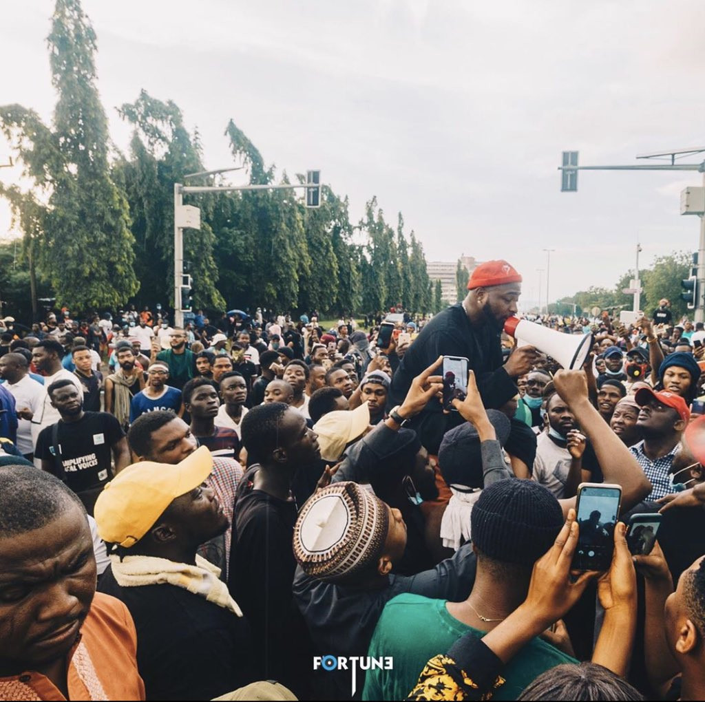Davido joins #EndSARS protest in Abuja, secures the release of protesters lindaikejisblog