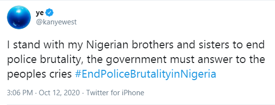 The government must answer to the peoples cries - Kanye West reacts to #EndSARS lindaikejisblog 1