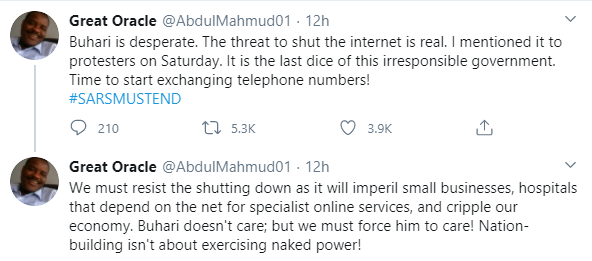 Buhari is desperate, the threat to shut down Nigeria's internet over #EndSARS protest is real - Former Students' union leader and activist, Abdul Mahmud lindaikejisblog 1