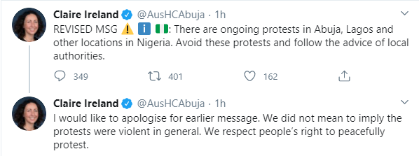 Australia's High Commissioner, Claire Ireland apologizes over comment about #EndSARS protest lindaikejisblog 1