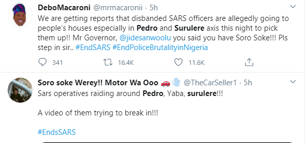 Officers of disbanded SARS unit allegedly breaking into people's homes, assaulting and whisking them away in Pedro community of Surulere lindaikejisblog 1