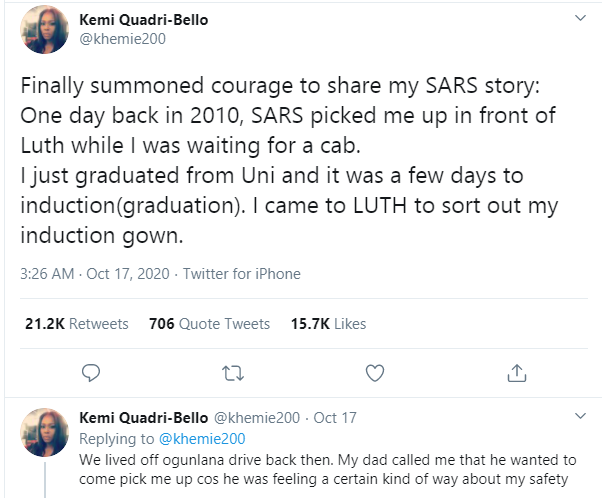 I still have PTSD from events of that day - Nigerian lady recounts how she was allegedly assaulted by SARS operatives in 2010 lindaikejisblog