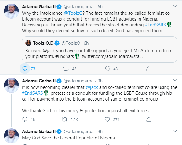Former presidential aspirant, Adamu Garba accuses Twitter CEO Jack Dorsey and feminists of using the #EndSARS protest to fund the LGBT cause lindaikejisblog 1