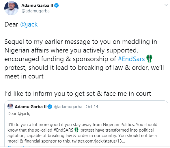 Be prepared to pay for damages caused as a result of these protest-turned riots you supported - Adamu Garba threatens Twitter CEO, Jack Dorsey lindaikejisblog 1