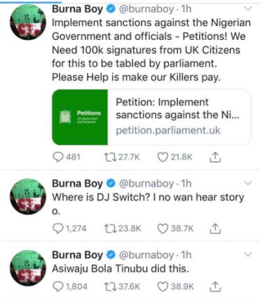 Tinubu did this, I'm working to ensure that all Nigerian officials are sanctioned - Burna Boy tweets after Lekki massacre lindaikejisblog 1