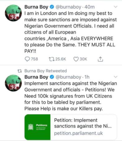 Tinubu did this, I'm working to ensure that all Nigerian officials are sanctioned - Burna Boy tweets after Lekki massacre lindaikejisblog 2