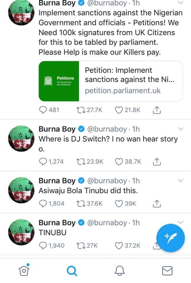 Tinubu did this, I'm working to ensure that all Nigerian officials are sanctioned - Burna Boy tweets after Lekki massacre lindaikejisblog 3