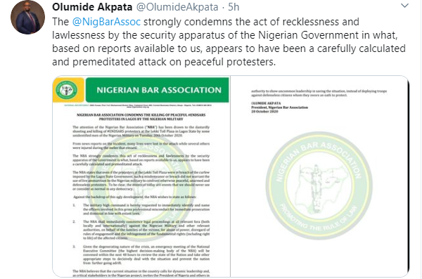NBA will commence legal proceedings locally and internationally against Nigerian military and other relevant authorities over Lekki massacre - Olumide Akpata lindaikejisblog 1